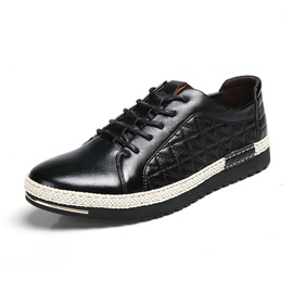 Solid Color Quilted Lace-Up Sneakers
