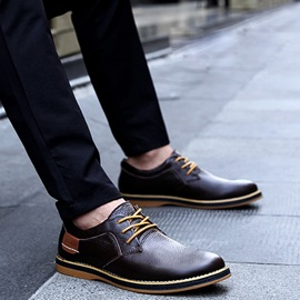 Embossed Round Toe Lace-Up Men's Shoes
