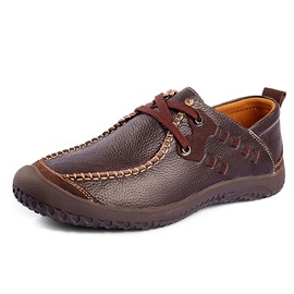 Round Toe Thread Lace-Up Men's Shoes