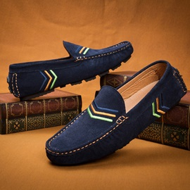 Embroidered Suede Slip-On Loafers