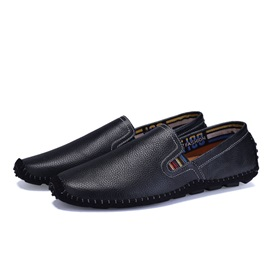 Solid Color Thread PU Slip-On Men's Shoes