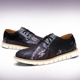 Printed Round Toe Lace-Up Men's Shoes