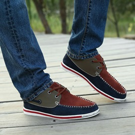 Color Block Thread Lace-Up Men's Shoes