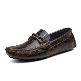 Embossed Slip-On PU Men's Shoes