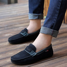Solid Color Thread Suede Slip-On Loafers