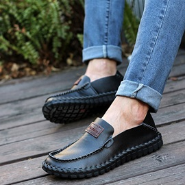 Thread Round Toe Slip-On Loafers