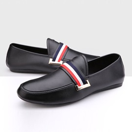 Striped Low-cut Slip-On Loafers