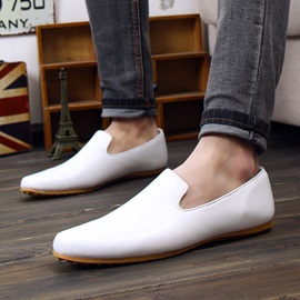 Solid Color Round Toe Slip-On Loafers