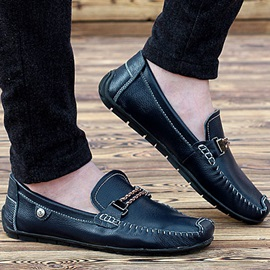 Buckle Ruched Slip-On Men's Loafers