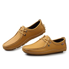 Solid Color Thread Lace-Up Moccasin Gommino