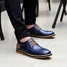Round Toe PU Patchwork Lace-Up Men's Shoes