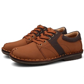 Thread Round Toe Lace-Up Men's Casual Shoes