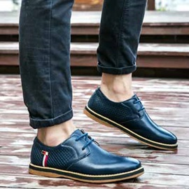 Embossed Lace-Up Men's Casual Shoes