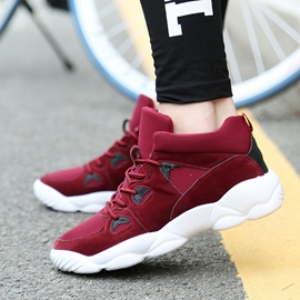 Breathable Color Block Lace-Up Men's Running Shoes