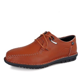 Breathable PU Thread Lace-Up Casual Shoes