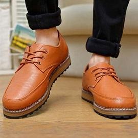Solid Color PU Lace-Up Men's Causal Shoes
