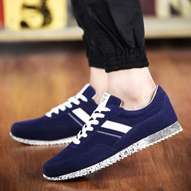 Colored Sole Suede Lace-Up Sneakers