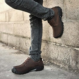 Round Toe Lace-Up Front Men's Casual Shoes