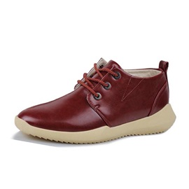 Solid Color PU Lace-Up Men's Casual Shoes