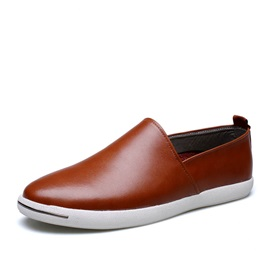 PU Round Toe Slip-On Loafers