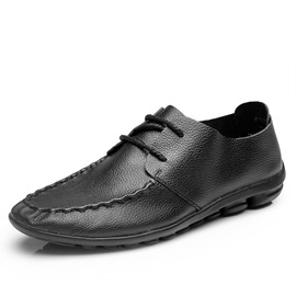 Solid Color Thread Lace-Up Casual Shoes