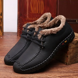 Thread PU Lace-Up Casual Shoes