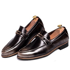 British Square Heel Slip-On Casual Shoes