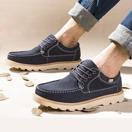 Solid Color Suede Thread Lace-Up Casual Shoes
