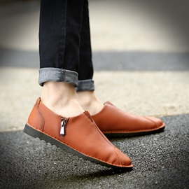 PU Round Toe Zippered Loafers