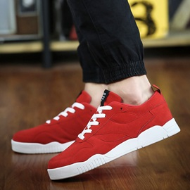 Suede Round Toe Lace-Up Skater Shoes