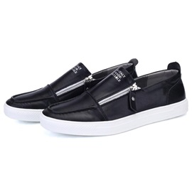 Brush-Off PU Zippered Casual Shoes