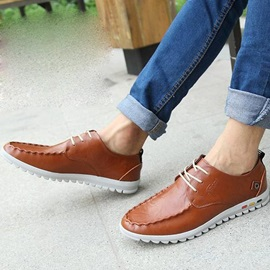 PU Thread Lace-Up Flat Heel Casual Shoes