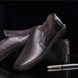 Breathable PU Round Toe Slip-On Loafers