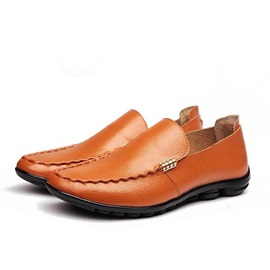 Solid Color PU Thread Slip-On Men's Loafers