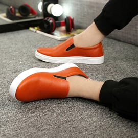 Solid Color PU Round Toe Loafers