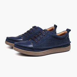 Suede Patchwork Lace-Up Men's Casual Shoes