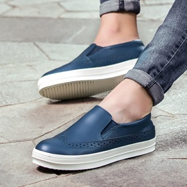 PU Round Toe Wingtip Loafers