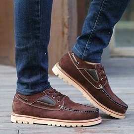 Suede Thread Lace-Up Men's Boat Shoes