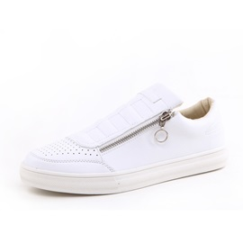 PU Thread Oblique Zipper Casual Shoes