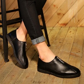 PU Round Toe Front-Zip Loafers