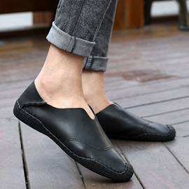 PU Thread Round Toe Slip-On Loafers