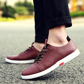 PU Round Toe Lace-Up Front Casual Shoes