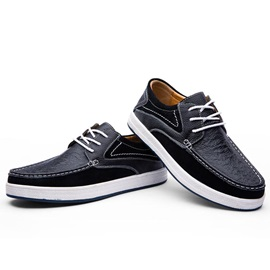 Suede Patchwork Thread Lace-Up Casual Shoes