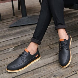 PU Round Toe Lace-Up Casual Shoes for Men
