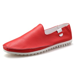 PU Round Toe Slip-On Casual Shoes