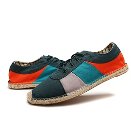 Color Block Canvas Lace-Up Casual Shoes