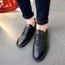 British PU Patchwork Lace-Up Casual Shoes