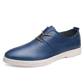 British PU Round Toe Lace-Up Shoes for Men