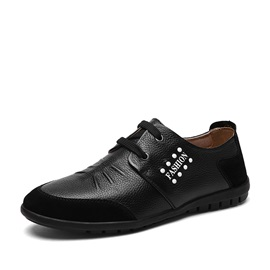 Studded Suede Patchwork Lace-Up Casual Shoes