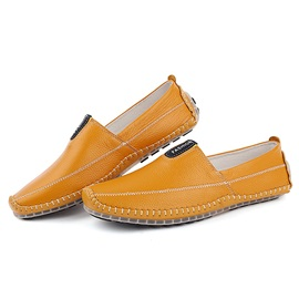 British Solid Color Thread Slip-On Loafers